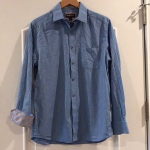 Johnston & Murphy blue check/contrast cuff shirt